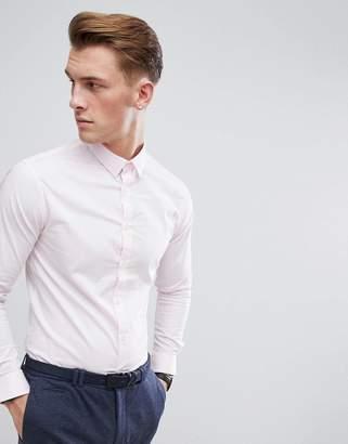 Celio Slim Smart Long Sleeve Shirt In Pink