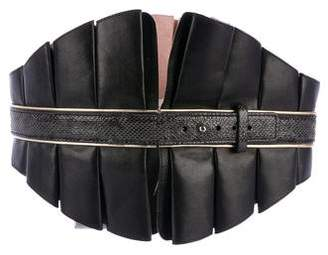 Temperley London Leather Ruffled Waist Belt