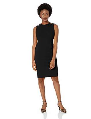 Calvin Klein Women's Petite Sleeveless Sheath with Shoulder Cut Outs