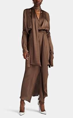 Juan Carlos Obando Women's Washed Satin Tie-Neck Gown - Lt. brown