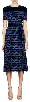 Fendi Women's Velvet-Detailed Chiffon Sheath Dress