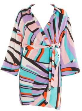Emilio Pucci Women's Shell Print Wrap Dress - Lilac - Size 44 (14)
