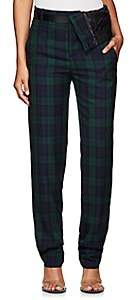 Y/Project Women's Plaid Twill Asymmetric-Waist Trousers - Navy