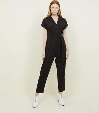 7b21ebb720 New Look Black Twill Button Front Utility Jumpsuit
