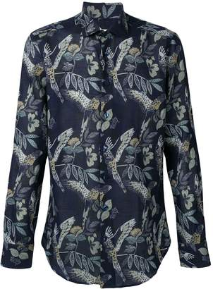 Etro bird print spread collar shirt