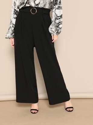dd22c514bf Shein Plus O-ring Belt Wide Leg Pants