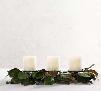 Pottery Barn Gold & Green Magnolia Candle Holders