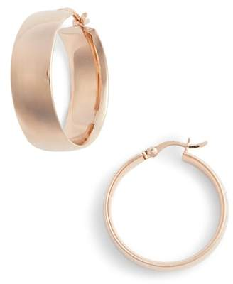 Argentovivo Flat Edge Hoop Earrings