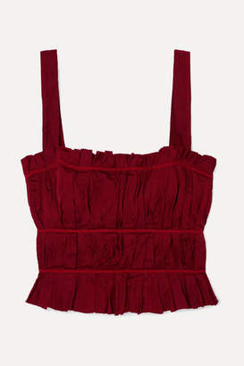 Brock Collection Frayed Ruched Crepe Bustier Top - Red