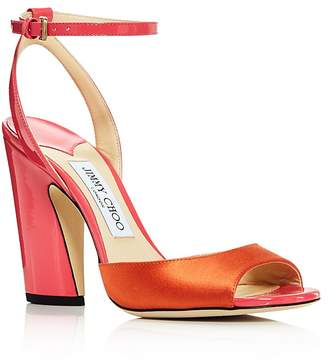 Jimmy Choo Women's Miranda 100 Mixed-Media Color-Block High-Heel Sandals