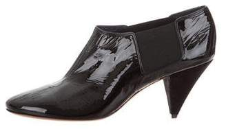 Celine Patent Leather Round-Toe Booties w/ Tags