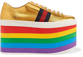 Gucci Metallic Leather Platform Sneakers - Gold