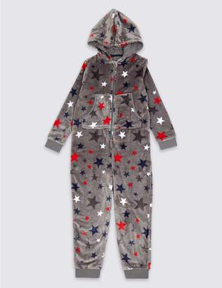 Marks and Spencer All Over Star Hooded Onesie (1-16 Years)