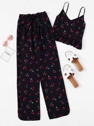 Shein Cherry Print Ruffle Cami & Pants PJ Set