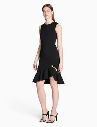 Calvin Klein button ruffle hem sleeveless dress