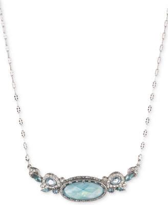 "Jenny Packham Silver-Tone Pave & Stone Pendant Necklace, 16"" + 2"" extender"