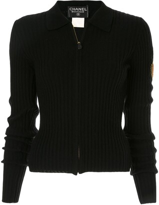 Chanel Pre-Owned zip-front ribbed knit jumper