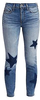 Current/Elliott Women's Star-Embroidered Ankle Skinny Stiletto Jeans