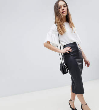 Asos DESIGN Petite sculpt me leather look midi skirt