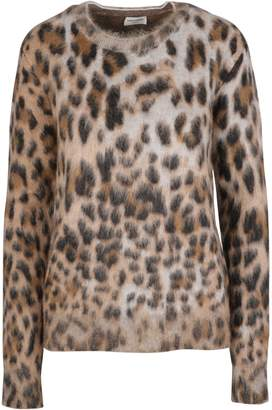 Saint Laurent Leopard Skinned Crew Neck Jumper