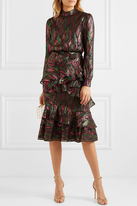 Saloni Isa Ruffled Metallic Silk-blend Jacquard Midi Dress - Black