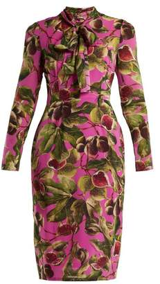 Dolce & Gabbana Fig Print Silk Georgette Midi Dress - Womens - Pink Print