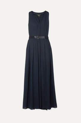 Akris Belted Wool-voile Maxi Dress - Navy