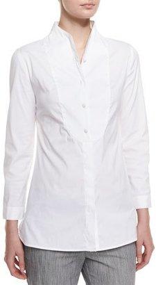 Armani Collezioni Long-Sleeve Button-Front Poplin Blouse, White $495 thestylecure.com