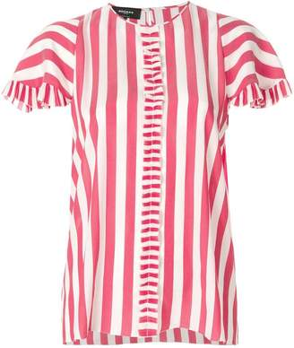 Rochas striped frill pleat shirt