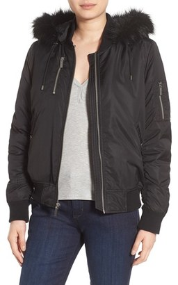 French Connection 'Varsity' Hooded Bomber Jacket with Faux Fur Trim $158 thestylecure.com