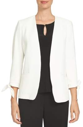 CeCe Tie Sleeve Open Front Blazer