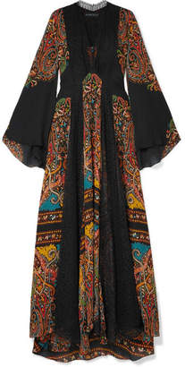 Etro Lace-paneled Printed Silk-chiffon Maxi Dress - Black