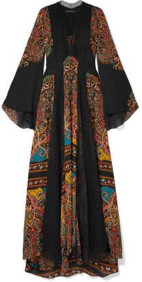 Etro Lace-paneled Printed Silk-chiffon Maxi Dress - Black