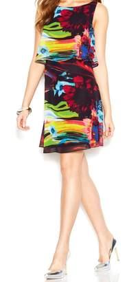 Betsey Johnson color Print Womens Overlay Sheath Dress Black