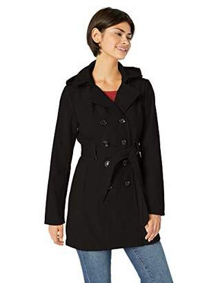 Sebby Collection Women's Plus Size Soft Shell Trench Coat Water Resistant with a detchable Hood
