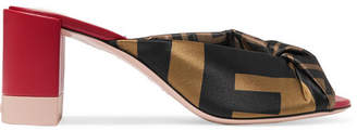 Fendi Knotted Logo-print Satin And Leather Mules - Brown