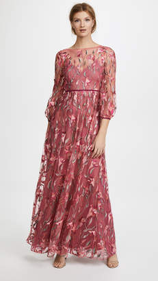 Marchesa Embroidered Gown with Bishop Sleeve