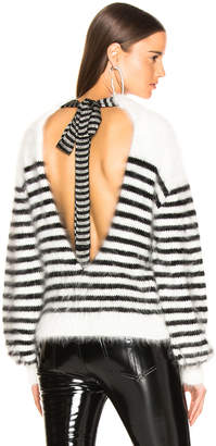 Alanui Angora Stripe Tie Back Intarsia Sweater