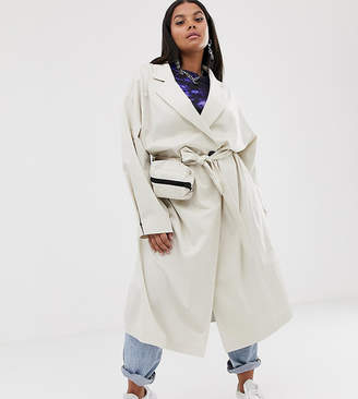Collusion COLLUSION Plus trench coat with removable bag