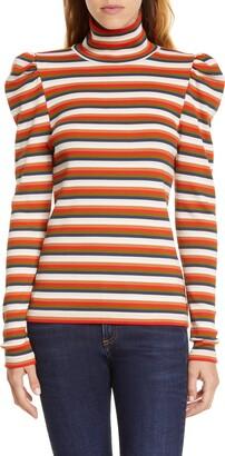 Veronica Beard Cedar Stripe Puff Sleeve Turtleneck Top