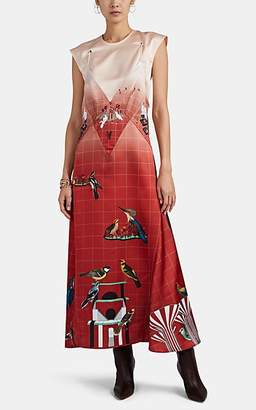 Cédric Charlier Women's Slip-Overlay Satin Dress - Red Pat.