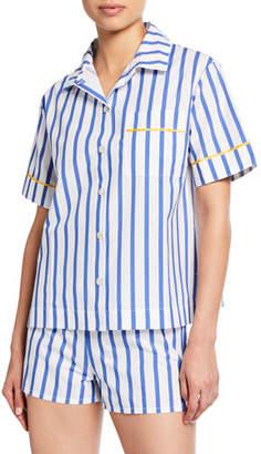 Lulu Hesper Fox Short-Sleeve Striped Pajama Shirt