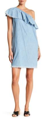Vince Camuto Frayed Ruffle One Shoulder Chambray Dress