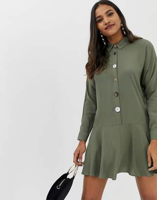 Asos DESIGN swing mini shirt dress with contrast buttons