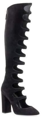 Saint Laurent Joplin Cutout Suede Over-The-Knee Boot