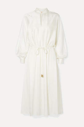 Tory Burch Silk-blend Satin-jacquard Midi Dress - Ivory