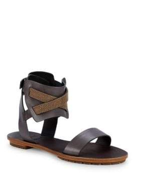 Brunello Cucinelli Crisscross Ankle-Strap Sandals