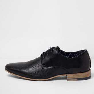 River Island Black textured lace-up formal shoes