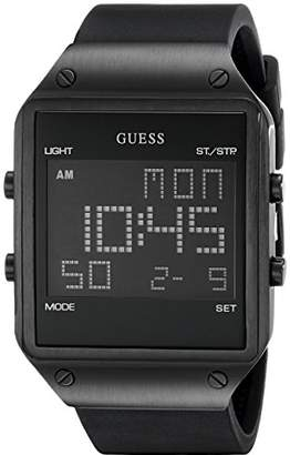 GUESS Men's U0595G1 Trendy Stainless Steel Watch with Digital Dial and Strap Buckle