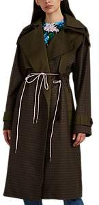 BESFXXK Women's Plaid Wool Flannel Trench Coat - Khaki